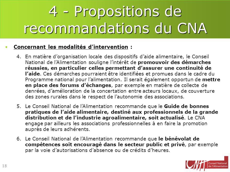 4 - Propositions de recommandations du CNA Concernant les modalités dintervention : 4.En matière dorganisation locale des dispositifs daide alimentair
