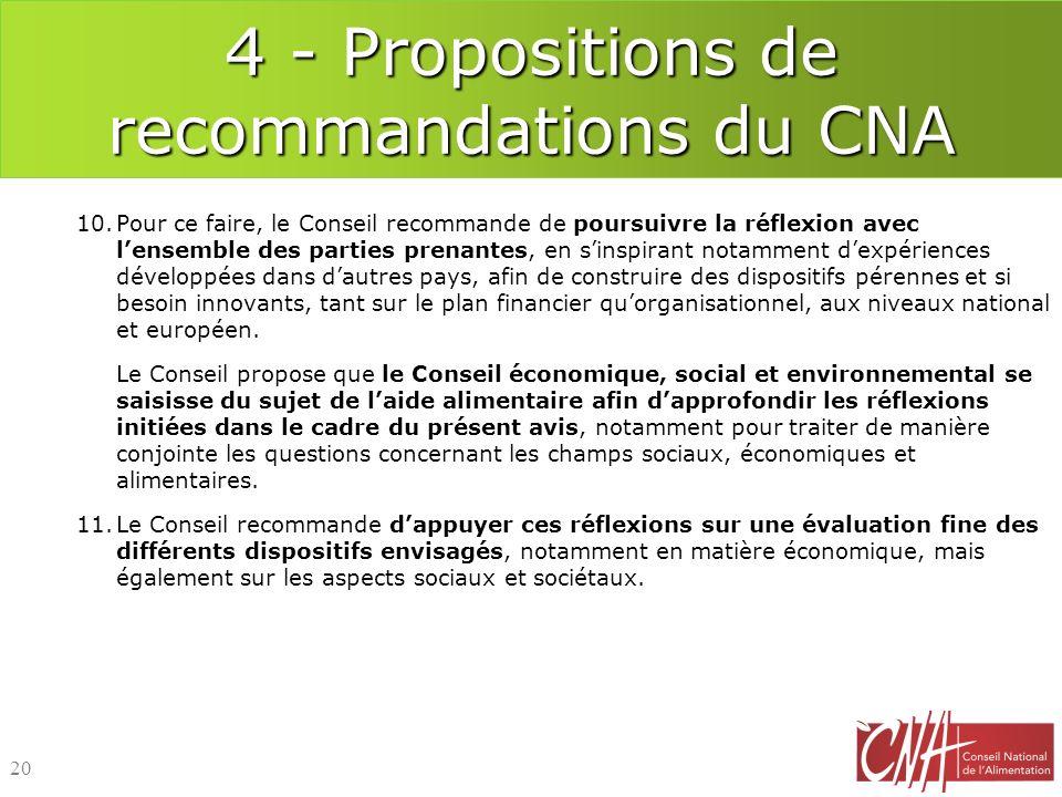 4 - Propositions de recommandations du CNA 10.Pour ce faire, le Conseil recommande de poursuivre la réflexion avec lensemble des parties prenantes, en