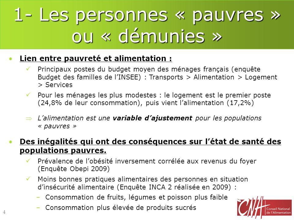 1- Les personnes « pauvres » ou « démunies » Lien entre pauvreté et alimentation : Principaux postes du budget moyen des ménages français (enquête Bud