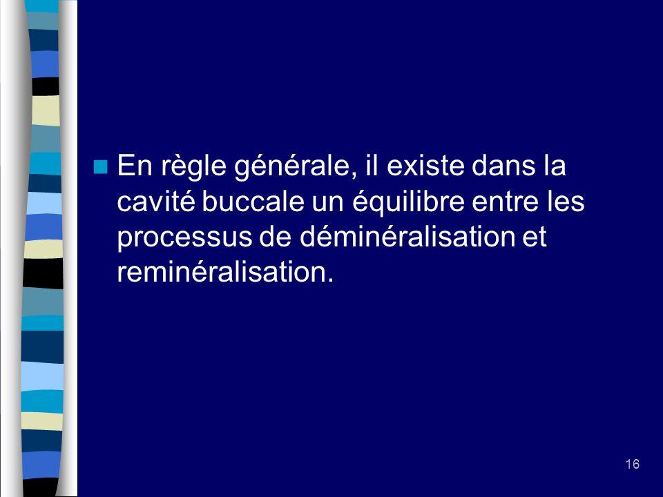 16 En règle générale, il existe dans la cavité buccale un équilibre entre les processus de déminéralisation et reminéralisation.