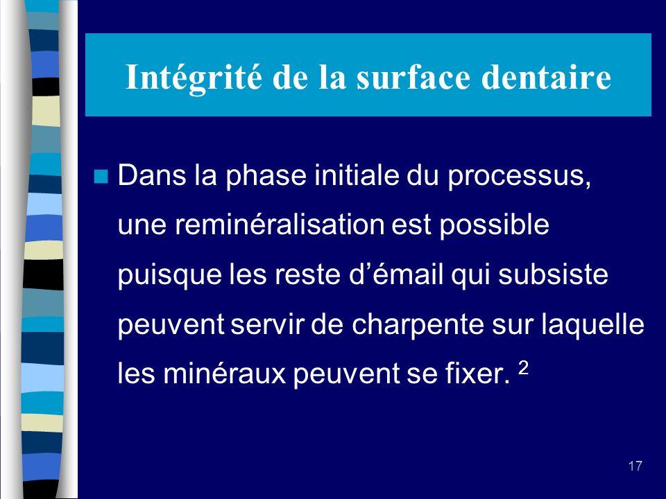 17 Intégrité de la surface dentaire Dans la phase initiale du processus, une reminéralisation est possible puisque les reste démail qui subsiste peuvent servir de charpente sur laquelle les minéraux peuvent se fixer.
