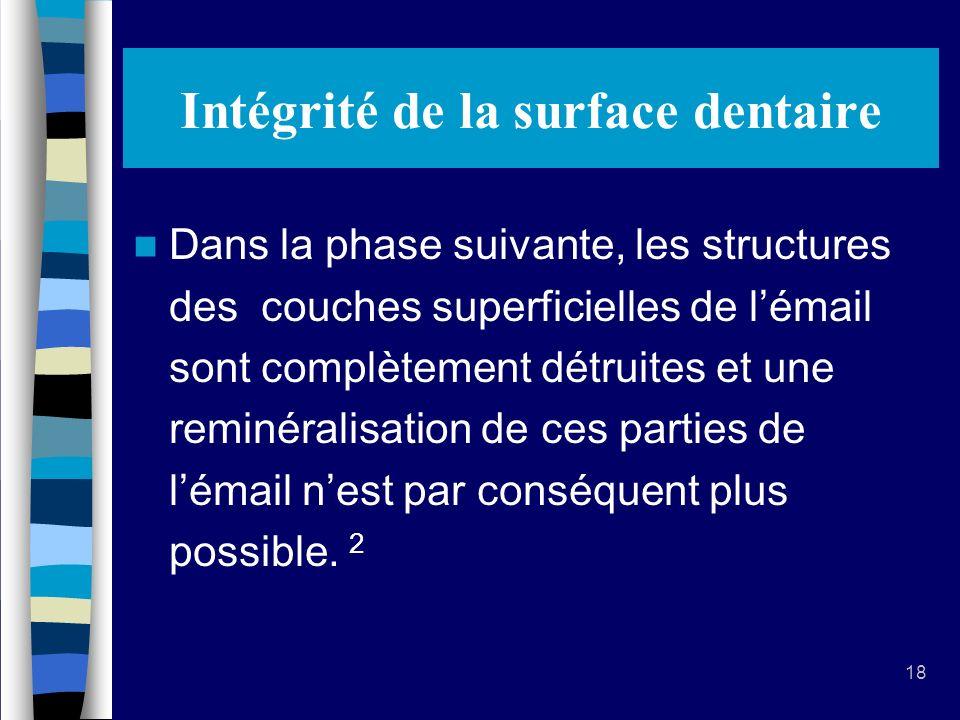 18 Intégrité de la surface dentaire Dans la phase suivante, les structures des couches superficielles de lémail sont complètement détruites et une reminéralisation de ces parties de lémail nest par conséquent plus possible.