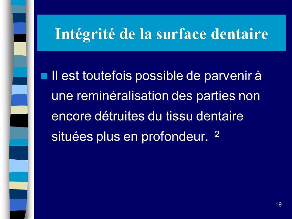19 Intégrité de la surface dentaire Il est toutefois possible de parvenir à une reminéralisation des parties non encore détruites du tissu dentaire situées plus en profondeur.