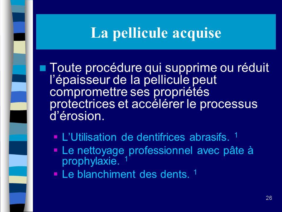 26 La pellicule acquise Toute procédure qui supprime ou réduit lépaisseur de la pellicule peut compromettre ses propriétés protectrices et accélérer le processus dérosion.