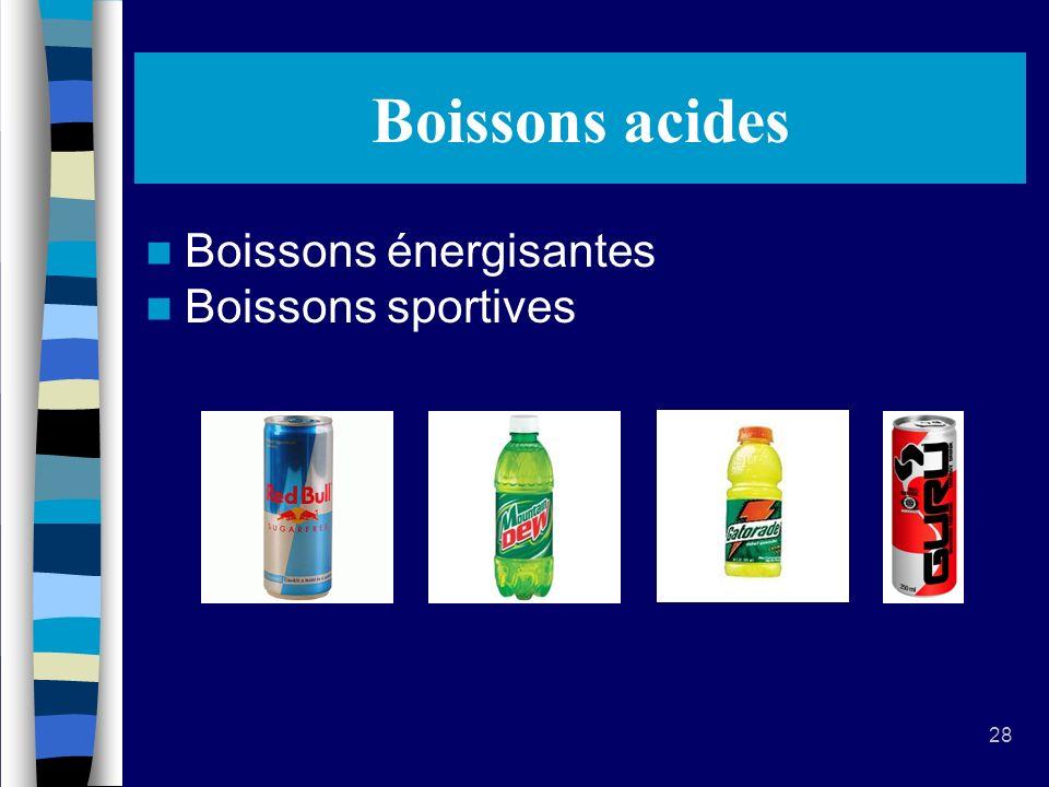 28 Boissons acides Boissons énergisantes Boissons sportives