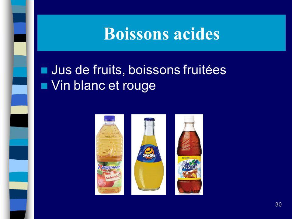 30 Boissons acides Jus de fruits, boissons fruitées Vin blanc et rouge