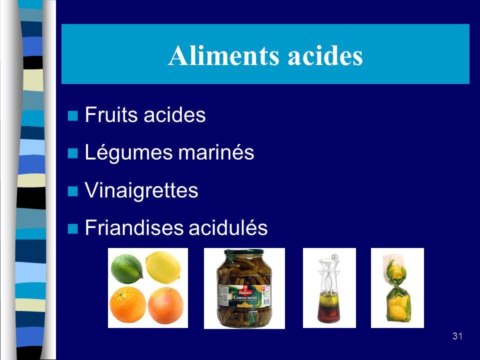 31 Aliments acides Fruits acides Légumes marinés Vinaigrettes Friandises acidulés