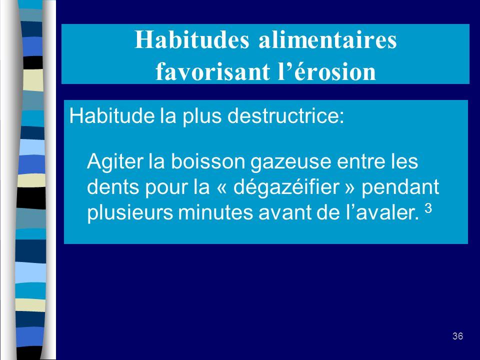 36 Habitudes alimentaires favorisant lérosion Conserver, remuer ou garder des boissons ou aliments acides dans la bouche prolonge lexposition.