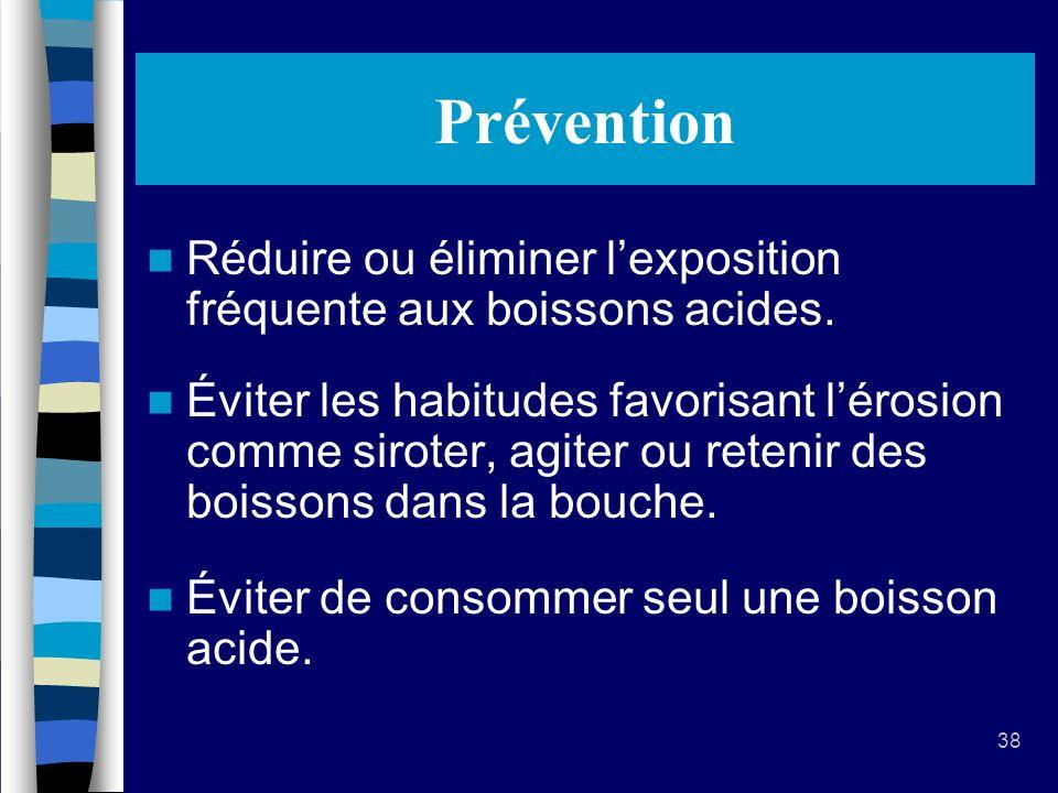 38 Prévention Réduire ou éliminer lexposition fréquente aux boissons acides.