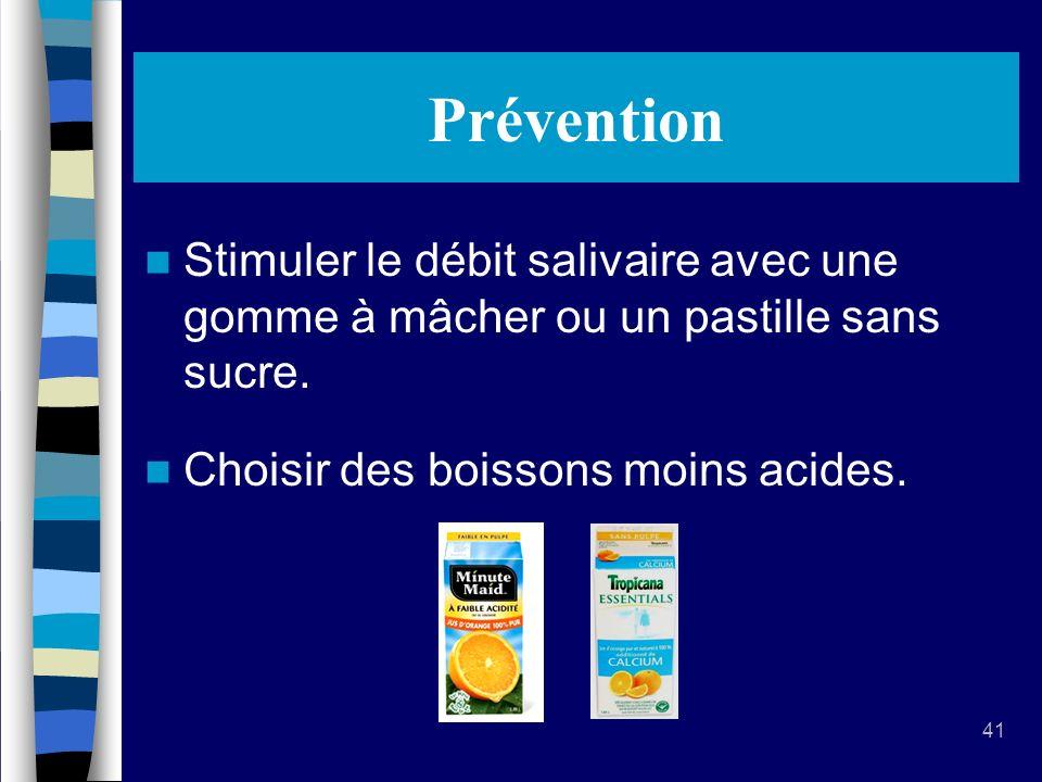 41 Prévention Stimuler le débit salivaire avec une gomme à mâcher ou un pastille sans sucre.