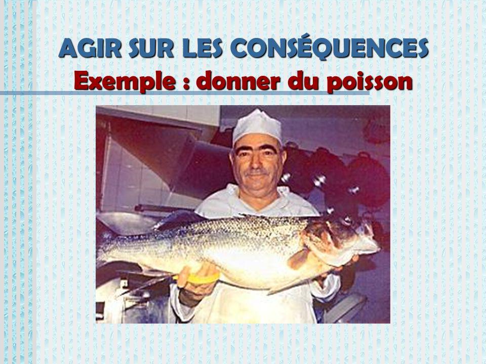 AGIR SUR LES CONSÉQUENCES Exemple : donner du poisson