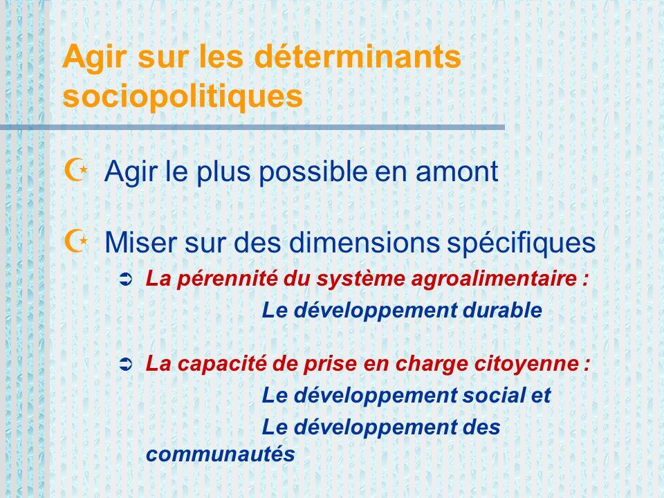 Agir sur les déterminants sociopolitiques Agir le plus possible en amont Miser sur des dimensions spécifiques La pérennité du système agroalimentaire : Le développement durable La capacité de prise en charge citoyenne : Le développement social et Le développement des communautés
