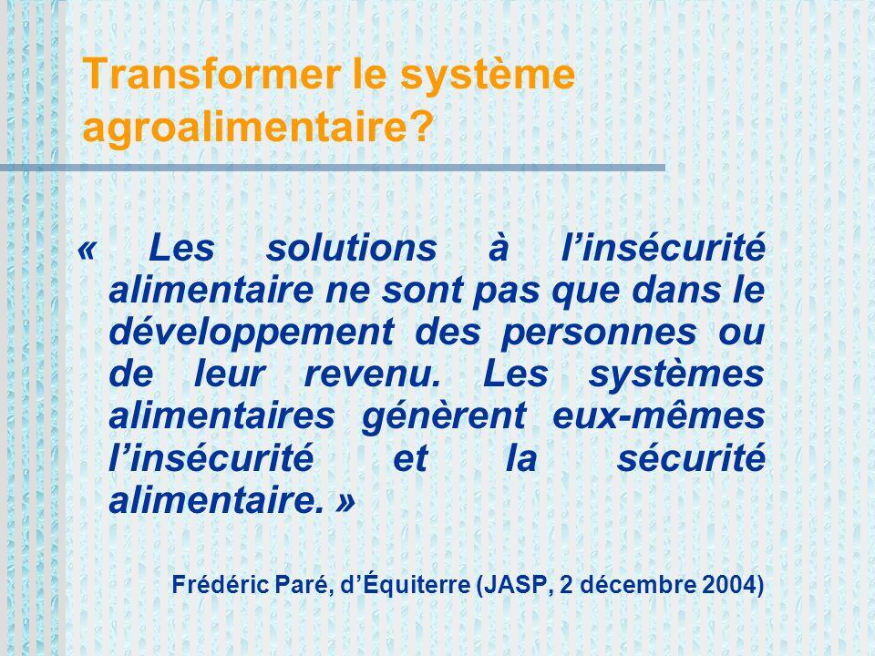 Transformer le système agroalimentaire.
