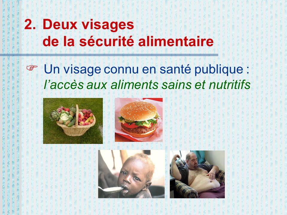 2.Deux visages de la sécurité alimentaire Un visage connu en santé publique : laccès aux aliments sains et nutritifs