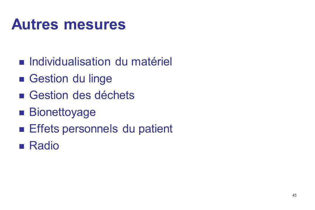 45 Autres mesures Individualisation du matériel Gestion du linge Gestion des déchets Bionettoyage Effets personnels du patient Radio
