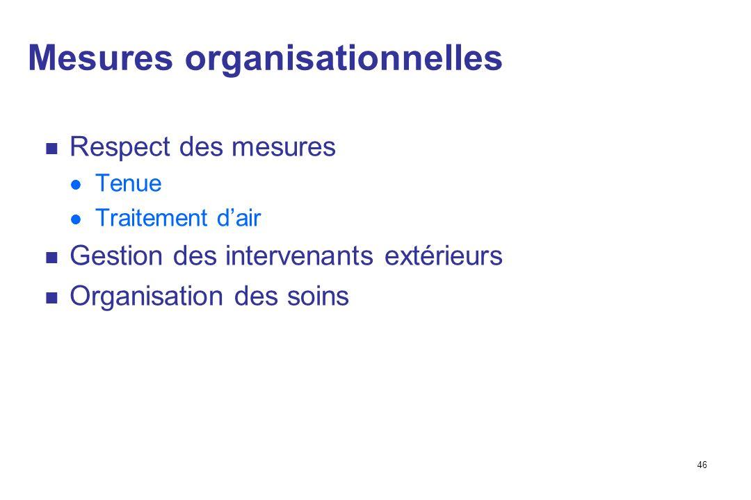 46 Mesures organisationnelles Respect des mesures Tenue Traitement dair Gestion des intervenants extérieurs Organisation des soins
