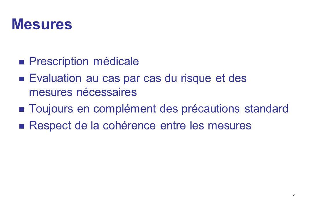 6 Mesures Prescription médicale Evaluation au cas par cas du risque et des mesures nécessaires Toujours en complément des précautions standard Respect de la cohérence entre les mesures