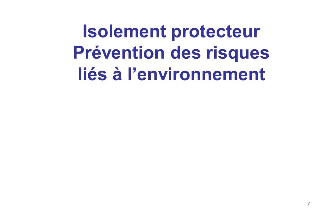 7 Isolement protecteur Prévention des risques liés à lenvironnement