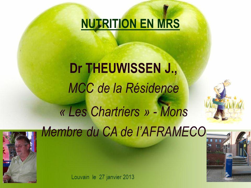 NUTRITION EN MRS Dr THEUWISSEN J., MCC de la Résidence « Les Chartriers » - Mons Membre du CA de lAFRAMECO Louvain le 27 janvier 2013