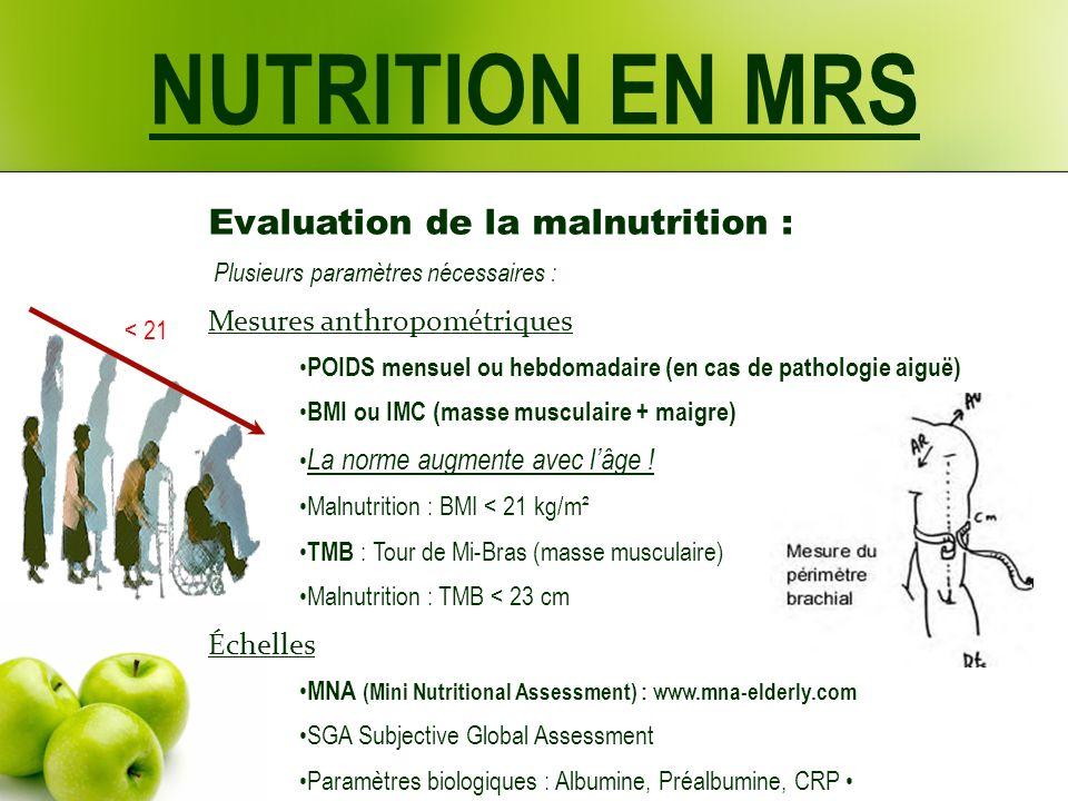 NUTRITION EN MRS Evaluation de la malnutrition : Plusieurs paramètres nécessaires : Mesures anthropométriques POIDS mensuel ou hebdomadaire (en cas de