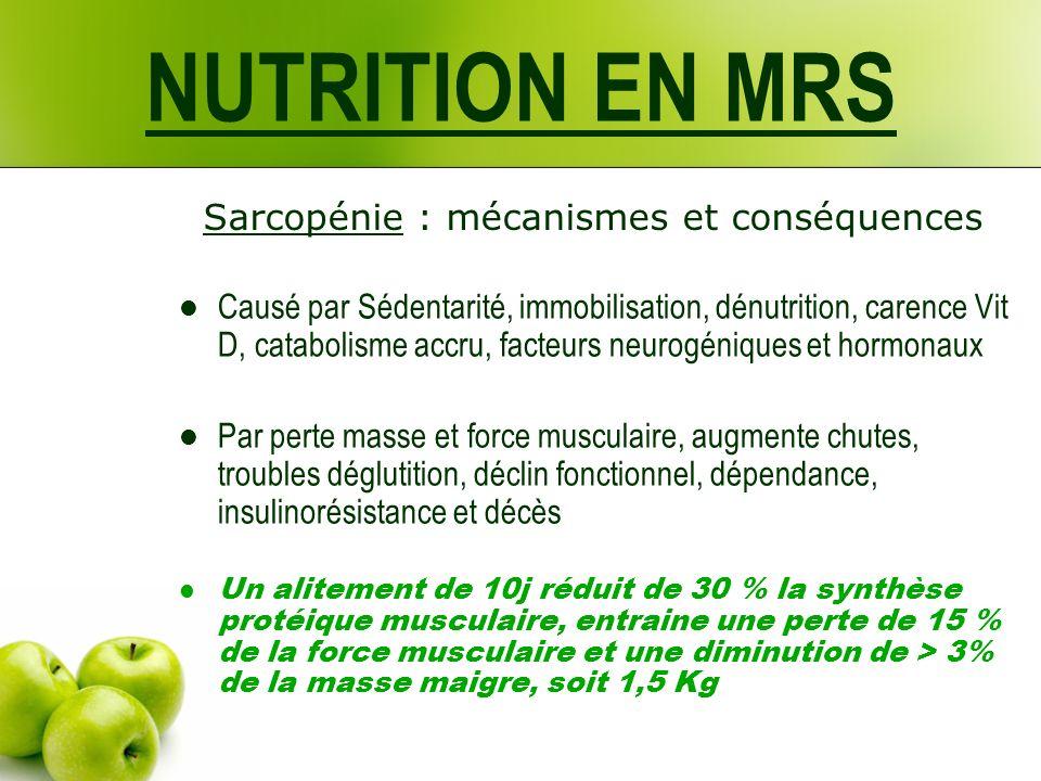 NUTRITION EN MRS Sarcopénie : mécanismes et conséquences Causé par Sédentarité, immobilisation, dénutrition, carence Vit D, catabolisme accru, facteur