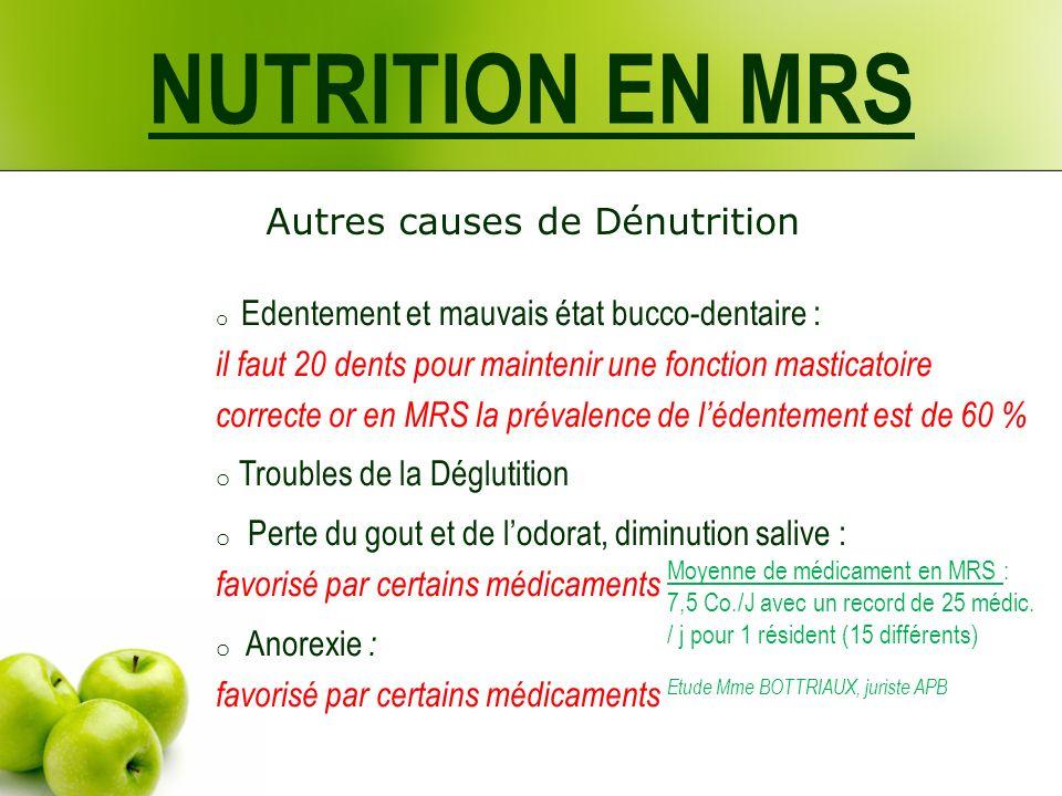 NUTRITION EN MRS Autres causes de Dénutrition o Edentement et mauvais état bucco-dentaire : il faut 20 dents pour maintenir une fonction masticatoire