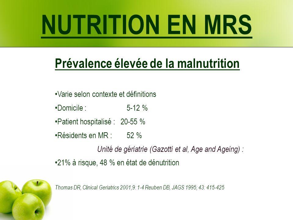 Prévalence élevée de la malnutrition Varie selon contexte et définitions Domicile : 5-12 % Patient hospitalisé : 20-55 % Résidents en MR : 52 % Unité de gériatrie (Gazotti et al, Age and Ageing) : 21% à risque, 48 % en état de dénutrition Thomas DR, Clinical Geriatrics 2001;9: 1-4 Reuben DB, JAGS 1995; 43: 415-425 NUTRITION EN MRS