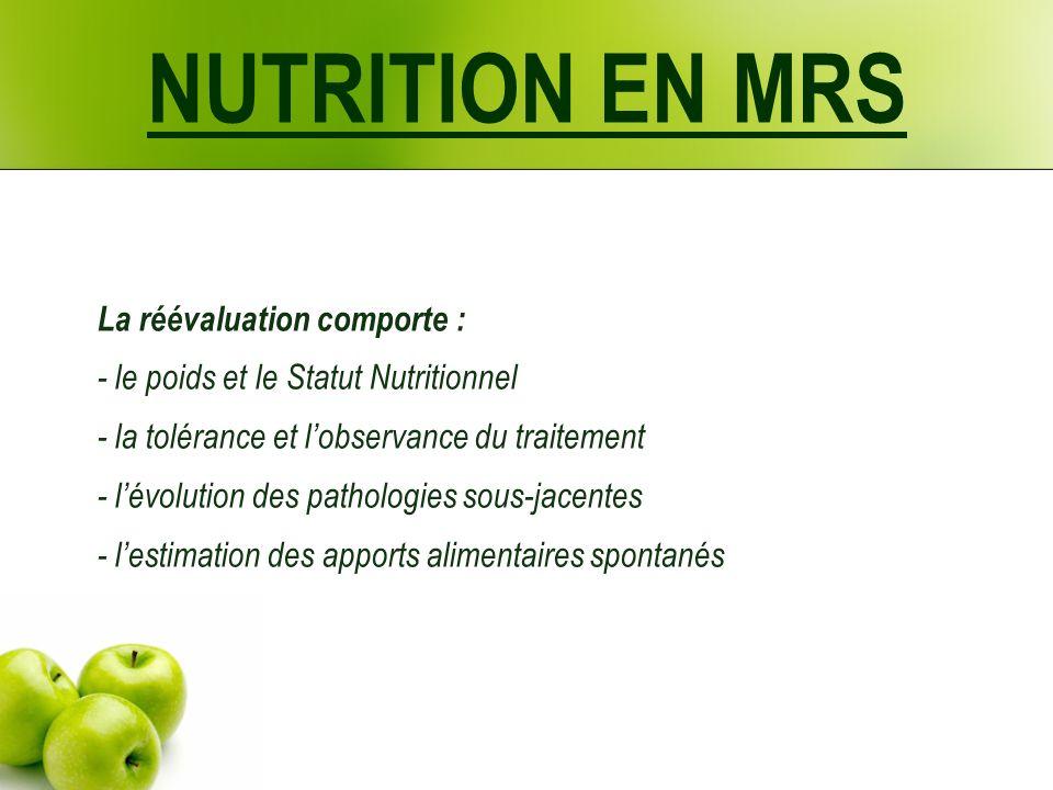 NUTRITION EN MRS La réévaluation comporte : - le poids et le Statut Nutritionnel - la tolérance et lobservance du traitement - lévolution des pathologies sous-jacentes - lestimation des apports alimentaires spontanés