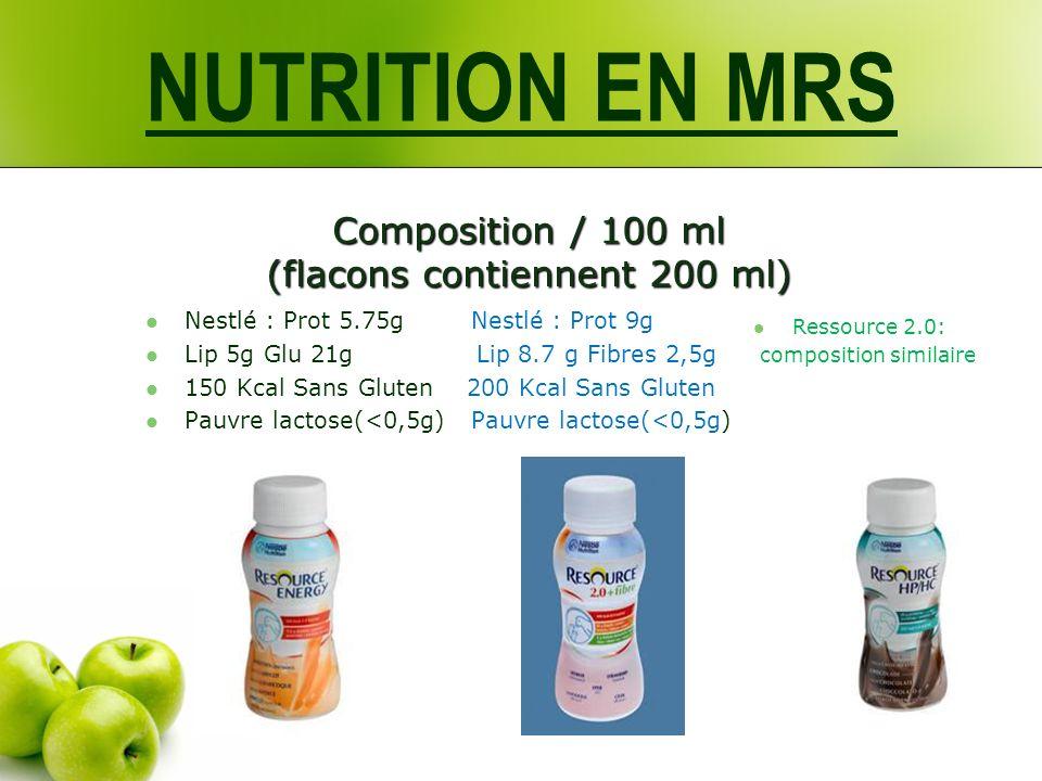 Composition / 100 ml (flacons contiennent 200 ml) Nestlé : Prot 5.75g Nestlé : Prot 9g Lip 5g Glu 21g Lip 8.7 g Fibres 2,5g 150 Kcal Sans Gluten 200 Kcal Sans Gluten Pauvre lactose(<0,5g) Pauvre lactose(<0,5g) Ressource 2.0: composition similaire NUTRITION EN MRS