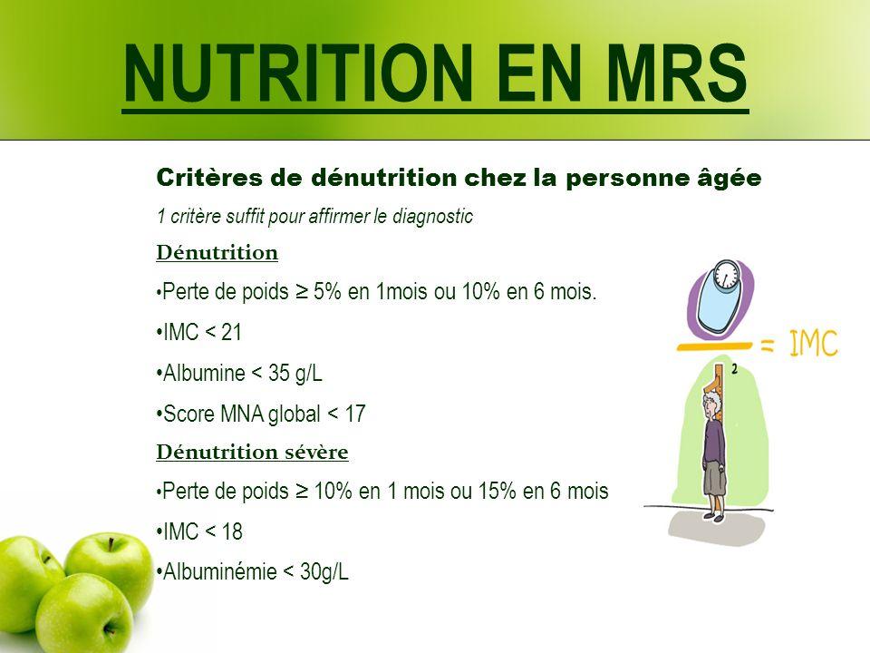 Critères de dénutrition chez la personne âgée 1 critère suffit pour affirmer le diagnostic Dénutrition Perte de poids 5% en 1mois ou 10% en 6 mois. IM