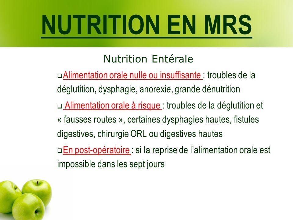 NUTRITION EN MRS Nutrition Entérale Alimentation orale nulle ou insuffisante : troubles de la déglutition, dysphagie, anorexie, grande dénutrition Ali