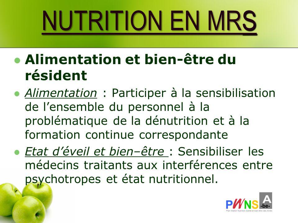 NUTRITION EN MRS Alimentation et bien-être du résident Alimentation : Participer à la sensibilisation de lensemble du personnel à la problématique de