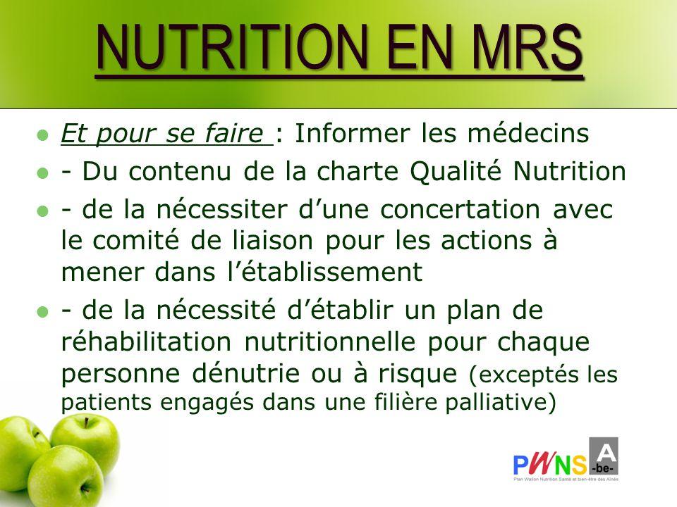 NUTRITION EN MRS Et pour se faire : Informer les médecins - Du contenu de la charte Qualité Nutrition - de la nécessiter dune concertation avec le com