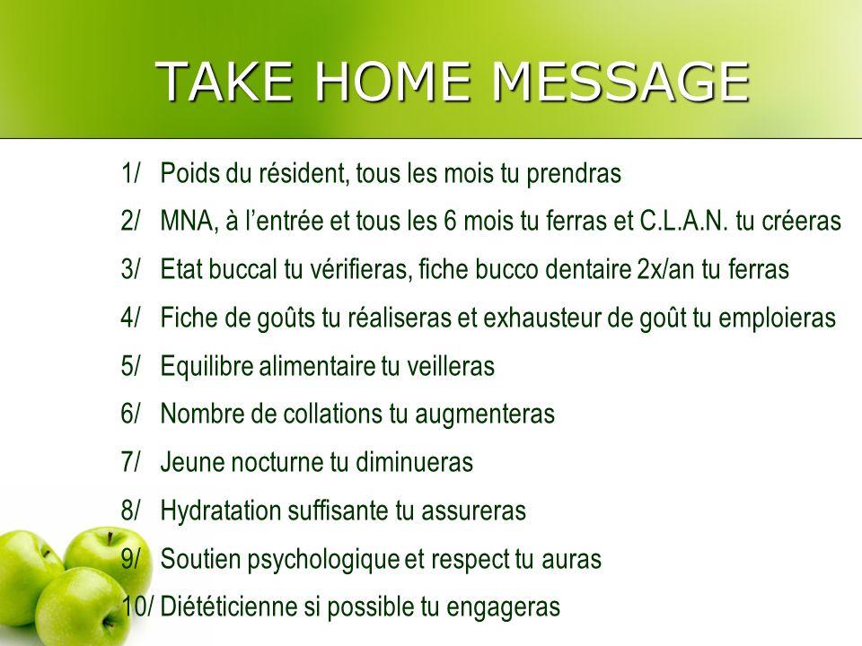 TAKE HOME MESSAGE 1/ Poids du résident, tous les mois tu prendras 2/ MNA, à lentrée et tous les 6 mois tu ferras et C.L.A.N.