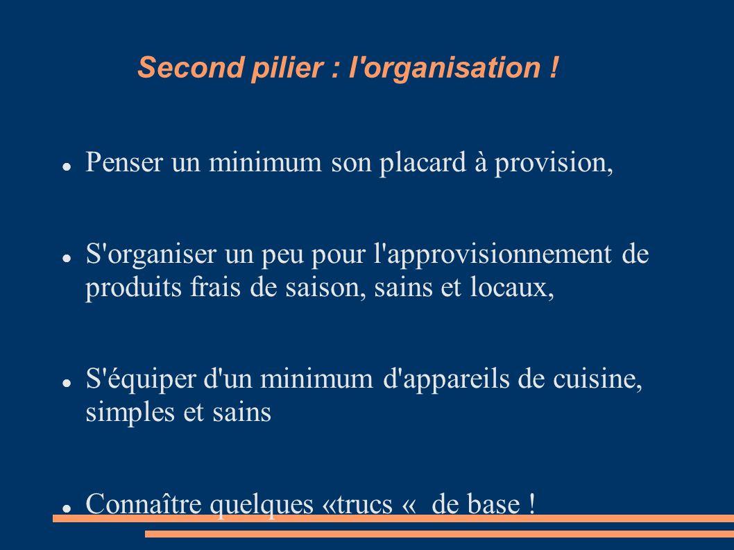 Second pilier : l'organisation ! Penser un minimum son placard à provision, S'organiser un peu pour l'approvisionnement de produits frais de saison, s