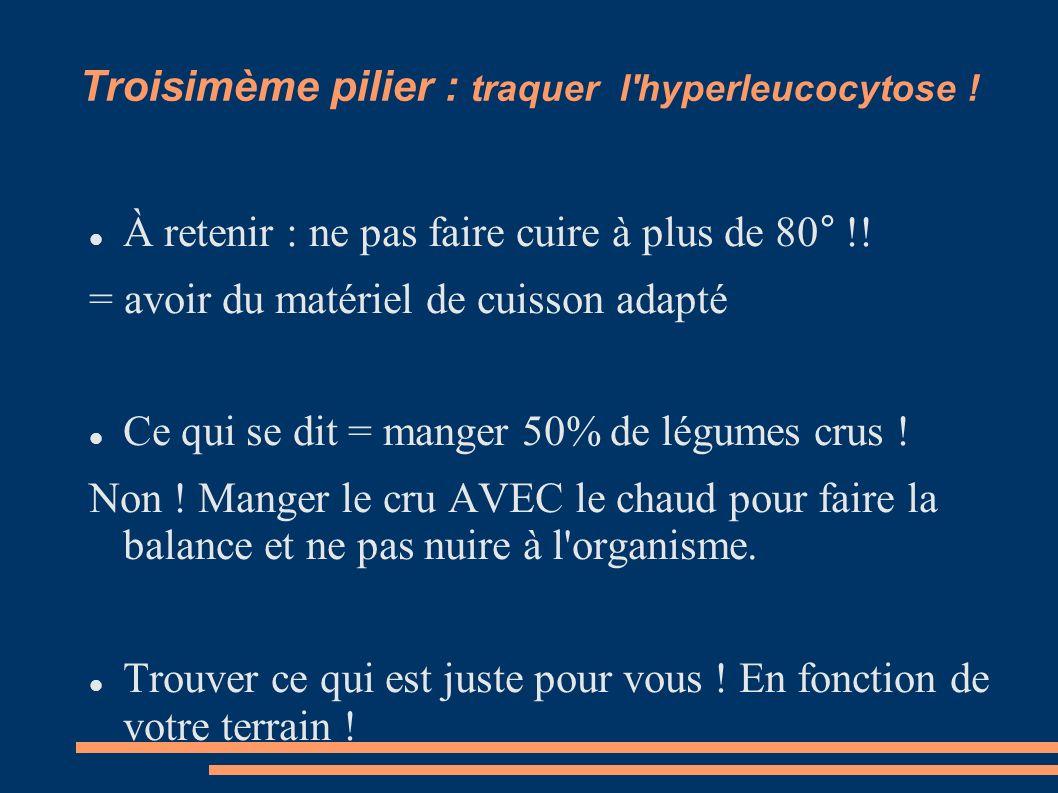 Troisimème pilier : traquer l'hyperleucocytose ! À retenir : ne pas faire cuire à plus de 80° !! = avoir du matériel de cuisson adapté Ce qui se dit =