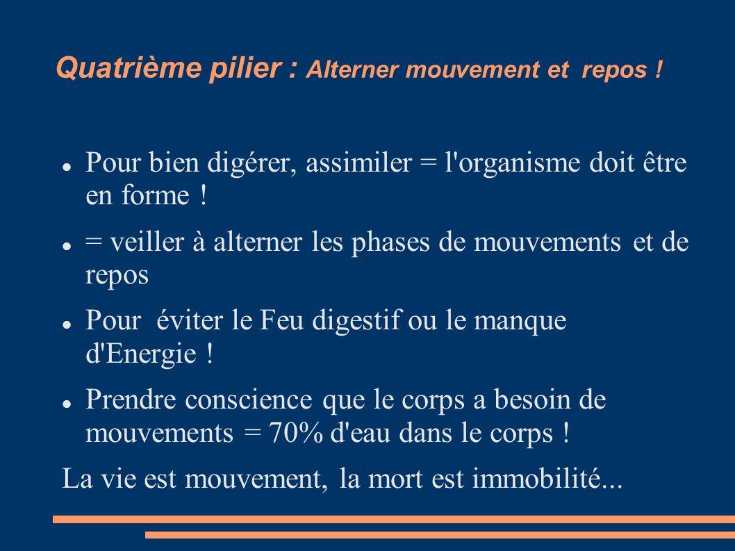 Quatrième pilier : Alterner mouvement et repos ! Pour bien digérer, assimiler = l'organisme doit être en forme ! = veiller à alterner les phases de mo