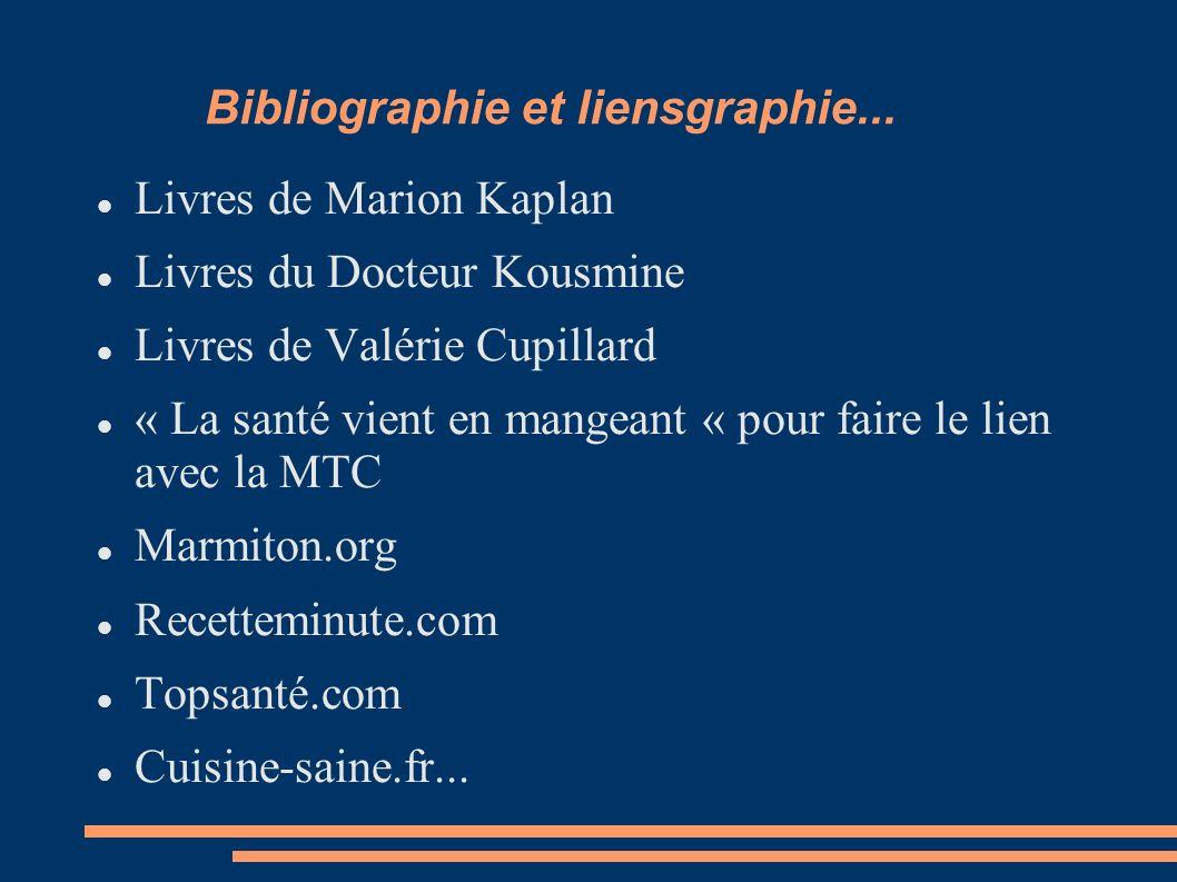 Bibliographie et liensgraphie... Livres de Marion Kaplan Livres du Docteur Kousmine Livres de Valérie Cupillard « La santé vient en mangeant « pour fa