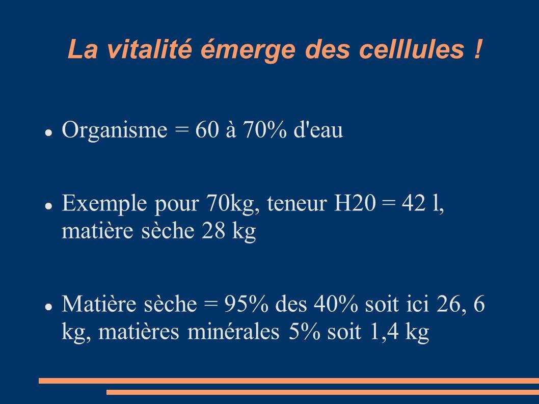 La vitalité émerge des celllules ! Organisme = 60 à 70% d'eau Exemple pour 70kg, teneur H20 = 42 l, matière sèche 28 kg Matière sèche = 95% des 40% so