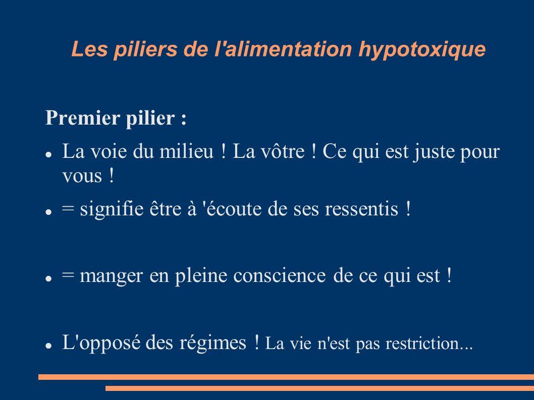 Les piliers de l alimentation hypotoxique Premier pilier : La voie du milieu .
