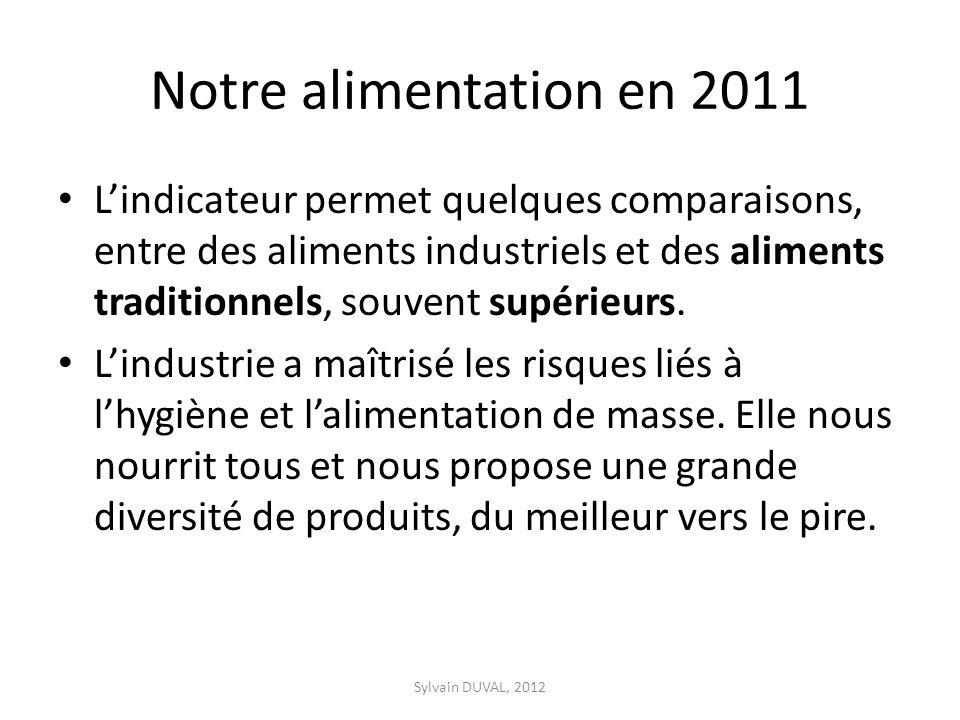 Notre alimentation en 2011 Lindicateur permet quelques comparaisons, entre des aliments industriels et des aliments traditionnels, souvent supérieurs.