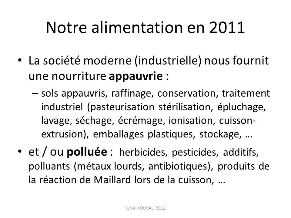 Notre alimentation en 2011 La société moderne (industrielle) nous fournit une nourriture appauvrie : – sols appauvris, raffinage, conservation, traite