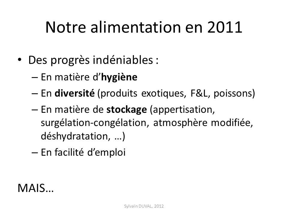 Notre alimentation en 2011 Des progrès indéniables : – En matière dhygiène – En diversité (produits exotiques, F&L, poissons) – En matière de stockage