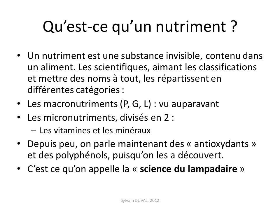 Quest-ce quun nutriment ? Un nutriment est une substance invisible, contenu dans un aliment. Les scientifiques, aimant les classifications et mettre d