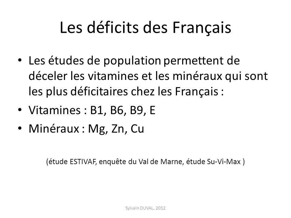 Les déficits des Français Les études de population permettent de déceler les vitamines et les minéraux qui sont les plus déficitaires chez les Français : Vitamines : B1, B6, B9, E Minéraux : Mg, Zn, Cu (étude ESTIVAF, enquête du Val de Marne, étude Su-Vi-Max ) Sylvain DUVAL, 2012