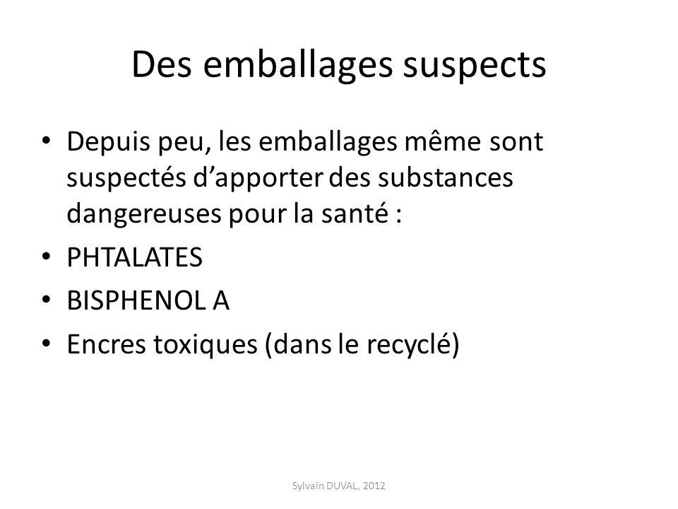 Des emballages suspects Depuis peu, les emballages même sont suspectés dapporter des substances dangereuses pour la santé : PHTALATES BISPHENOL A Encres toxiques (dans le recyclé) Sylvain DUVAL, 2012