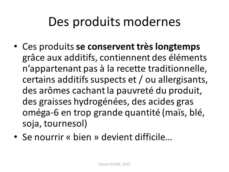 Des produits modernes Ces produits se conservent très longtemps grâce aux additifs, contiennent des éléments nappartenant pas à la recette traditionne