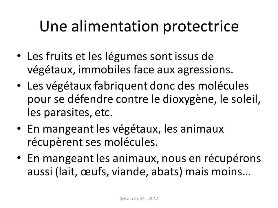 Une alimentation protectrice Les fruits et les légumes sont issus de végétaux, immobiles face aux agressions. Les végétaux fabriquent donc des molécul