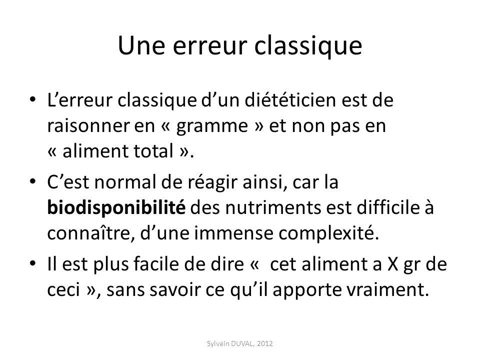 Une erreur classique Lerreur classique dun diététicien est de raisonner en « gramme » et non pas en « aliment total ».