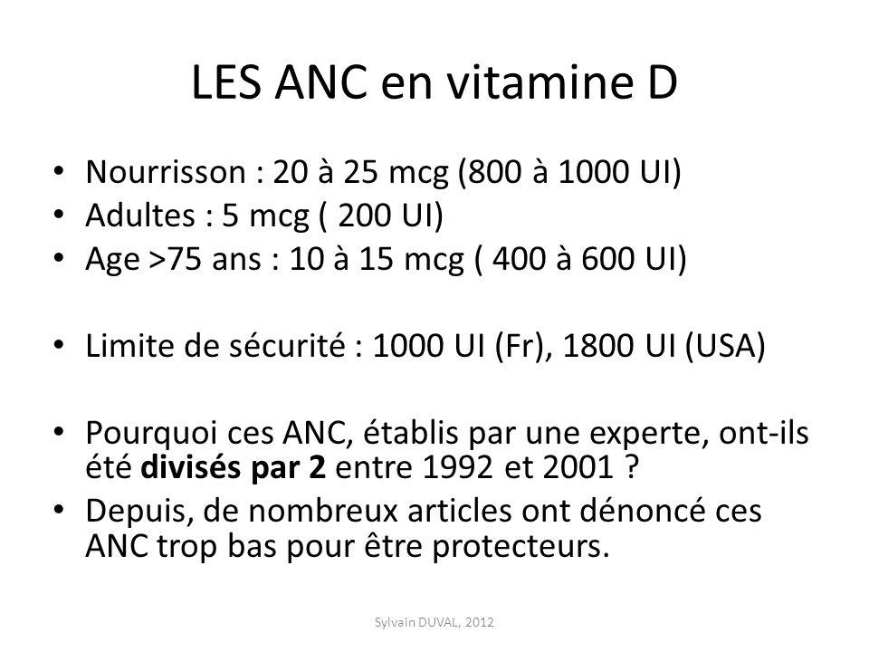 LES ANC en vitamine D Nourrisson : 20 à 25 mcg (800 à 1000 UI) Adultes : 5 mcg ( 200 UI) Age >75 ans : 10 à 15 mcg ( 400 à 600 UI) Limite de sécurité : 1000 UI (Fr), 1800 UI (USA) Pourquoi ces ANC, établis par une experte, ont-ils été divisés par 2 entre 1992 et 2001 .
